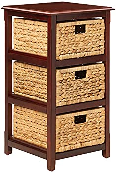 OSP Home Furnishings Seabrook 3-Tier Storage Unit with Natural Baskets Espresso