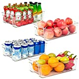 Refrigerator Organizer Bins, Vtopmart 4 Pack Large Clear Plastic Food Storage Bin with Handle for...