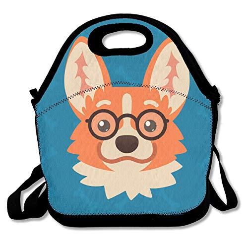 Lunchpaket Kinder-Lunch-Rucksack Corgi Dog Emotionaler Kopf mit Brille Lunch-Tragetaschen Lunch-Bag Lunchboxen mit verstellbarem Schultergurt