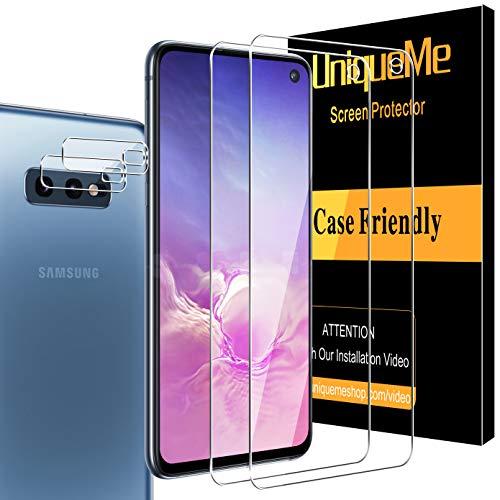 UniqueMe [2 Pack] Protector de Pantalla para Samsung Galaxy S10e y [2 Pack] Protector de Lente de cámara para Samsung Galaxy S10e cámara, [Cobertura máxima][Sin Burbujas] HD Cristal Vidrio Templado