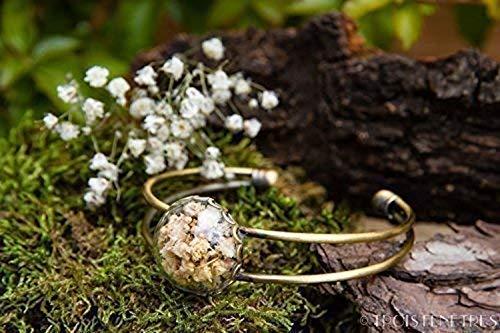 Brazalete de gypsophila - Pulsera de flores secas naturales -boho vintage botánico - Día de San Valentín - Cumpleaños - Regalo de Dama de Honor - Regalo cumpleaños