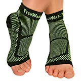 TechWare Pro Ankle Brace Compression Sleeve - Relieves Achilles Tendonitis, Joint Pain. Plantar...