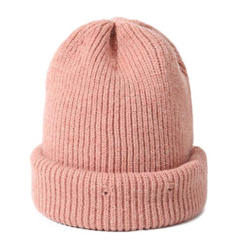 DABENXIONG Unisex Hecho De Punto Sombrero Sombrero Cálido Sombrero Cálido Doble Capa Espesado Punto Cráneo Cap Cap Mujer Hombres Elástico Daily Hat (Color : Pink)