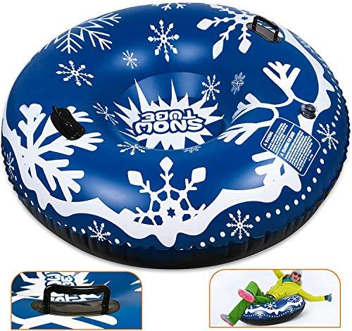 Winzwon Aufblasbarer Schlitten 47 Zoll aufblasbarer Schneerohr Schwerlast Snow Tube mit Griffen für Kinder und Erwachsene, Winter, Weihnachten, Schnee