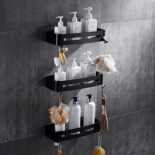 Doucheplank, douchemand, zwart, wandplank, plank van aluminium, badplank, roest, keuken, balkon, hoekkorf, gemakkelijk te monteren Three Floors