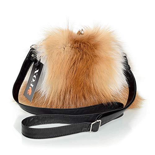 FOX FASHION Damen Umhängetasche mit Bügel aus Rotfuchs Fell Handtasche Pelztasche Fuchs Fell Pelz Fuchspelz Tasche Echtfell Felltasche Echt