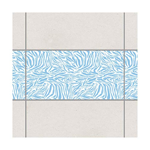 Fliesen Bordüre Zebra Design Light Blue 30x60 cm Blau, Setgröße: 10teilig