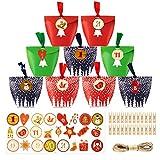 Calendario dell'Avvento 2020 , Calendario dell'Avvento fai da te 24 set di sacchetti di carta sacchetti di carta con 1-24 numeri adesivi, regalo di Natale creativo per bambini ragazze uomini donne
