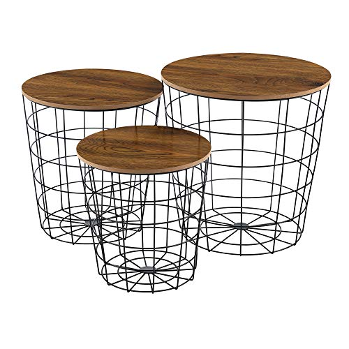 Set de 3X Cestas de Metal con bandejas extraíbles Mesa Baja Mesa Auxiliar para Almacenar Mesas de té y café Mesas de Centro Negro y Roble Antiguo