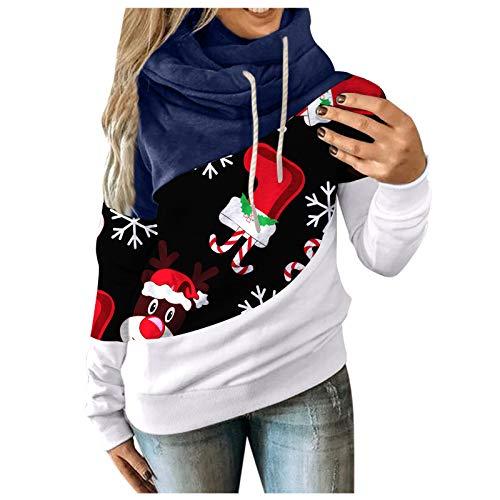 FELZ Túnica de Cuello Redondo para Mujer Sudadera con cordón suéter Tops Camisas con Capucha Estampadas...