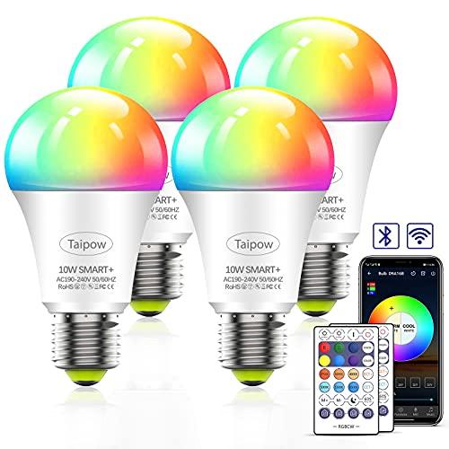Bombilla Inteligente Alexa, Taipow Bombillas Wifi 10W E27, Bombilla RGB Color Cálido y Frío Ajustable, APP + Control de voz +...