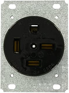 Leviton 8460 60 Amp, 250 Volt, Flush Mounting Receptacle, Straight Blade, Industrial Grade, Grounding, Black