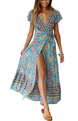 PRETTYGARDEN Women's Summer V Neck Wrap Vintage Floral Print Short Sleeve Split Belted Flowy Boho Beach Long Dress (129 Green, Small)