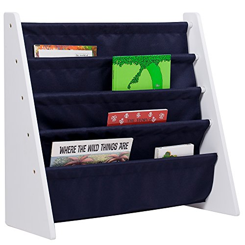 Wildkin Sling Bookshelf, Features Durable Fabric and Wood Design, Perfect for Encouraging Organization and Making Reading Easy and Fun for Young Readers - White with Blue