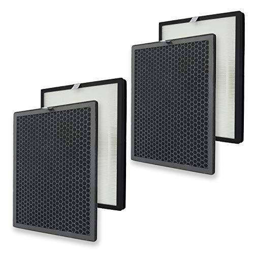 PUREBURG 2-Pack Replacement 2 HEPA Filters and 2 Charcoal Based Activated Carbon Filters Compatible with Alexapure Breeze Air Purifier Model 3049 AP-B102