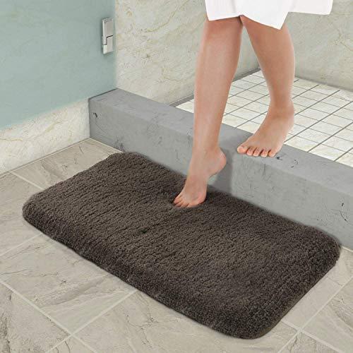YIQI Alfombra de baño Absorbente de Agua Extra Gruesa Alfombra de baño de Microfibra Alfombra de baño Antideslizante Alfombras Gruesas de Felpa Lavables (café 40x60 cm)