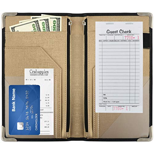 "GOLGINO Server Book for Waitress & Waiter 9"" x 5"", Two Zipper Pockets & ID Holder, Premium Receipt Organizer Wallet Fits Aprons, 11 Money Pockets Perfect for Server Banking (Black/Champagne)"