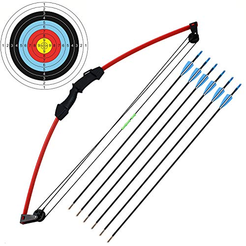 kaimei 35' Junior Compound Bow and Arrow Archery Set Outdoor Sports Game Hunting Toy Gift Bow Kit Set with 6 Arrows 18 Lb for Kids Children Teens Youth -R