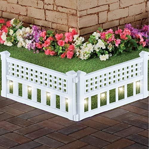 "discount SkyMall online sale 14"" H Decorative 8 Piece Architectural Corner Post Solar Garden Border Fence wholesale - White outlet sale"