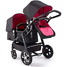 Suge Portable Baby Stroller Baby Carriage Stroller Tandem Double Stroller for Infants, Toddlers or – 360° Turning, Footrest, 5 Points Safety Belts, Foldable Design for Easy Transportation