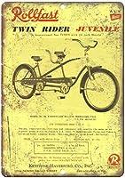 ロールファストツインライダー自転車ウォールメタルポスターレトロプラーク警告ブリキサインヴィンテージ鉄絵画装飾オフィスの寝室のリビングルームクラブのための面白いハンギングクラフト