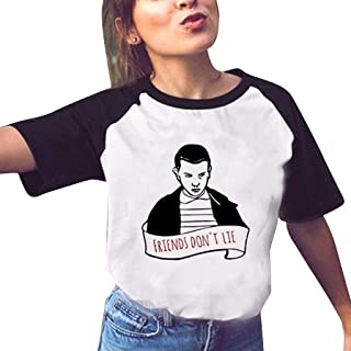 7e0f429f7d Camiseta Stranger Things Mujer, Camiseta Stranger Things Niña Manga Corta  Retro tee Ringer T Shirt