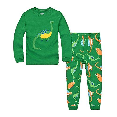 DAWILS Jungen Schlafanzug Grün Dino Langarm Zweiteilige Dinosaurier Pyjama Sets EU Gr.110/3-4 Jahre, Herstellergrösse 100