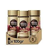 NESCAFÉ GOLD PURO COLOMBIA aroma y sabor, café soluble 100 % arábica de Colombia, frasco de vidrio, Pack de 3 x 100 g