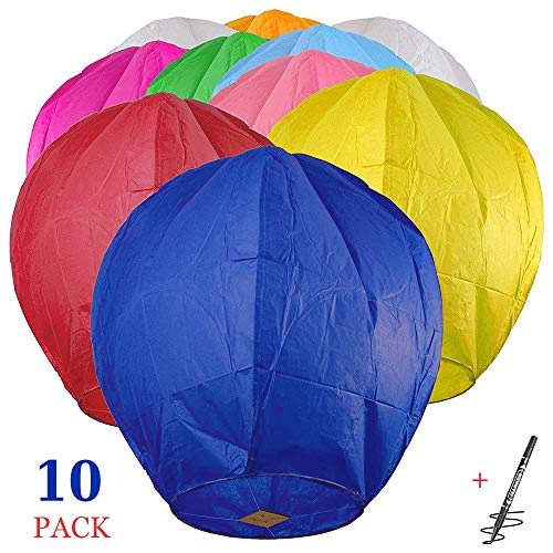 Maylai 10Pcs Sky Chinese Lanterns Flying Paper Lanterns Chinese Wish Lanterns...