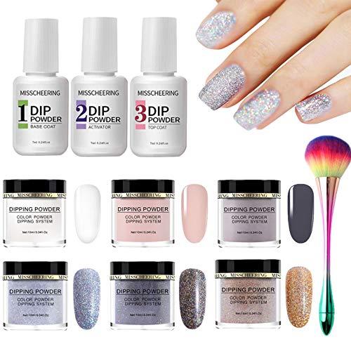 Gireatick Nagelpuder zum Eintauchen, Starter-Set mit Acrylpulver und Gelharz, erhältlich in 6 Farben, einfach zu verwendendes französisches Dip-Nagelpulver, Nagel-Farbsystem, UV-/LED-Lichtfrei