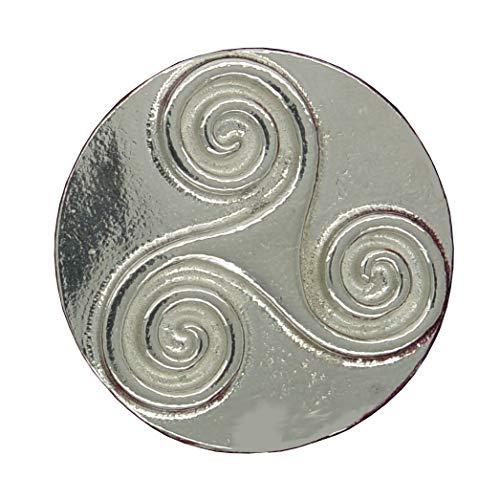 Brosche Triscele, Brosche Keltische, Brosche Keltische Triscele, Brosche Rund Keltische Triscele, Handgegossen von Willam Sturt aus Deutsche Zinn