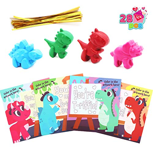28 Pack Valentines Cards and Colorful Dinosaur Crayons for Kids Valentine Gifts, Classroom Exchange Prizes and Valentine's Greeting Cards