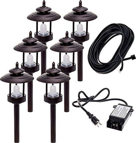 6 Pack Westinghouse 100 Lumen Low Voltage LED Pathway Light Landscape Kit w/ Transformer & Cable (Bronze)