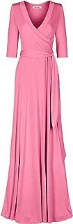 Bon Rosy Women's #MadeInUSA 3/4 Sleeve V-Neck Solid Maxi Wrap Dress Plus