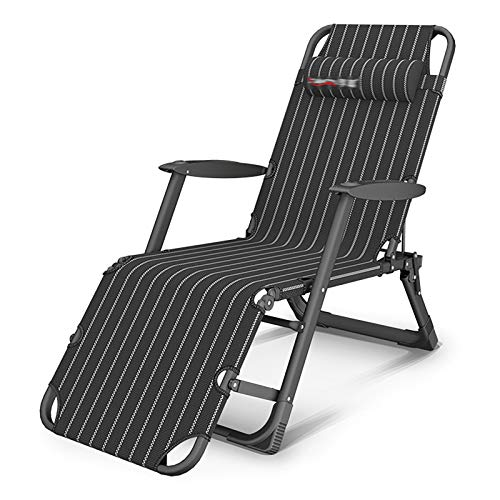 RPOLY Zero Gravity Lounge Chair, Adjustable Deck Chair Lounge Chair Breathable Folding Camping Cot Outdoor Folding Recliner for Camping pool Beach Supports,Black_178X25X65CM