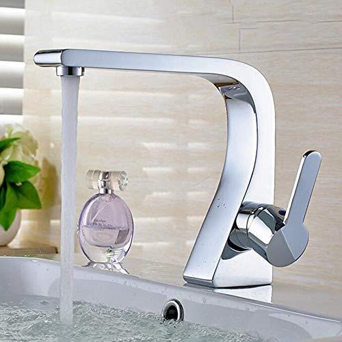 ZYDSN Grifo mezclador de baño cromado monomando monomando de latón con boquilla larga para baño con mangueras de conexión