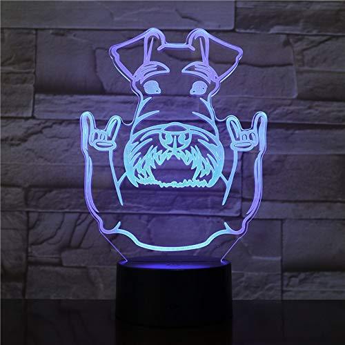 Schnauzerhunderasseporträtnachtlichtschnauzertier mit der Felsengestendekorationsfarbe, die Moderne Tischlampe ändert