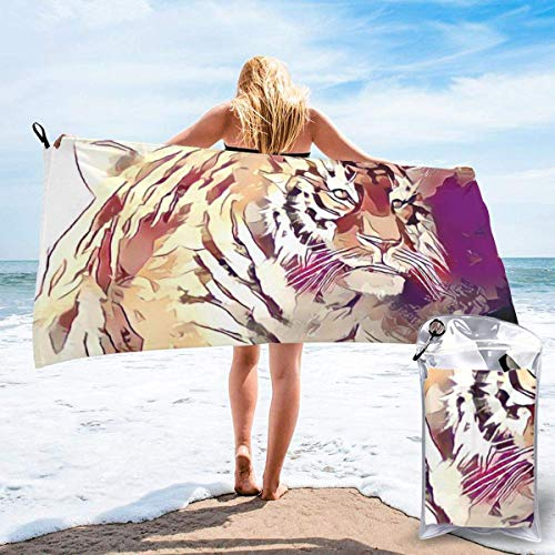 Gebrb Toalla de baño de Microfibra,Toallas de Gimnasio,Hand Drawn Tiger Microfiber Fast Drying Towels Suitable for Camping, Backpacking,Gym, Beach, Swimming,Yoga