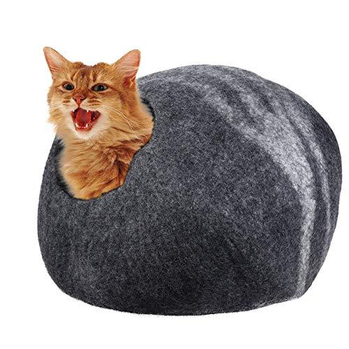 LGFSG Haustierhöhle New Pet Home Cats Welpe Handgefertigte gefilzte Wolle Haustier Katze Cave Bett Nest weich bequem, hellgrau, L.