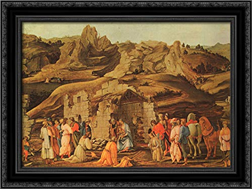 The Adoration of The Kings 24x18 Black Ornate Wood Framed Canvas Art by Paolo Uccello