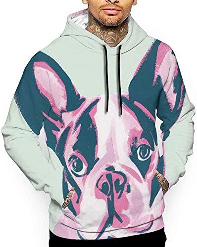 Shotngwu lustige französische Bulldogge Print Unisex 3D Mode Grafik Doppelseitiger Druck Pullover mit Kapuze Sweatshirt