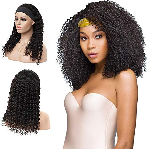 """Headband Human Hair Wigs for Black Women Deep Curly Wave None Lace Front Wigs Glueless Machine Made Wigs Brizilian Virgin Hair Natural Black 150% Density (14"""")"""