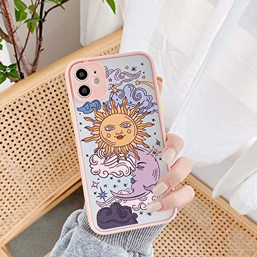 HNZZ Tmrtcgy Jamular Funny Sun Moon Cara Funda a Prueba de Golpes a Prueba de Golpes para iPhone 11 Pro 12 7 XS MAX X XR 8 Plus TPU Suave Tapa Mate (Color : Style 3, Size : IphoneXR)