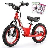 ENKEEO - 12'' Bicicleta sin Pedales, Bicicleta de Equilibrio, Entrenamiento Transicional en Bicicleta, Asiento Ajustable y Manillares Tapizados para Niños Pequeños de Menos de 110 cm de Altura, Rojo