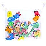 Paizizi Bade Buchstaben Zahlen Schaum 36-teiliges Alphabet Baby Badespielzeug mit Badezimmer Spielzeug Netz Organisator (45x35cm)