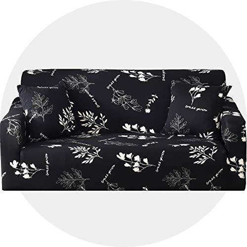 Carvapet Sofaüberwurf 2 Sitzer Sofabezug Couch Überzug Stretch, Schwarze Blätter