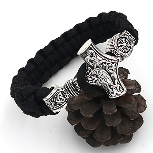 LEEFISH Wikinger Mjolnir Perlen Armband, Nordisch Antiquität Schwarz Handgemacht Armreif, Lunavin Thors Hammer Armband Schmuck Für Männer Und Frauen,23cm