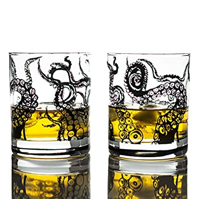 Greenline Goods Whiskey Glasses - 10 Oz Tumbler Gift Set – Kraken Whiskey Glasses (Set of 2) | Rocks Glass Octopus Decor | Old Fashioned Rocks Glasses