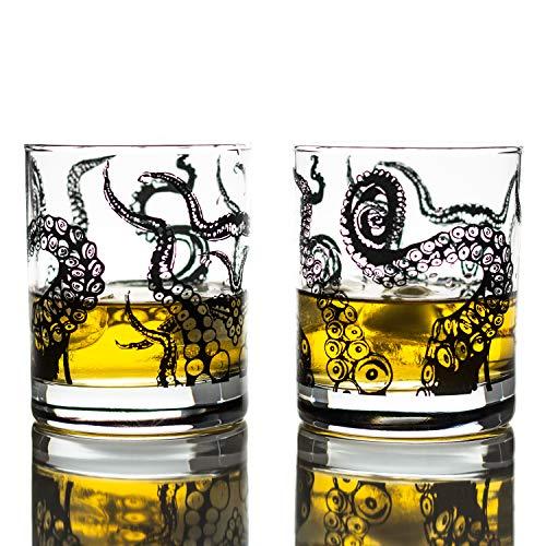 Greenline Goods Bicchieri da Whisky - Set Regalo Bicchiere da 10 Oz - Bicchieri da Whisky Kraken (Set di 2) |Decoro Polpo in Vetro Rocks |Bicchieri Old Fashioned Rocks
