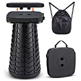 Tiovo Folding Camping Stool, Square Collapsible Portable Stool with Seat Cushion & Nylon Bag, Sturdy Lightweight Telescoping Foldable Stool for Adults Camp, Max Load 550lb